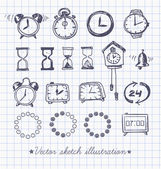 Set of vintage doodle sketch watches. — Vector de stock