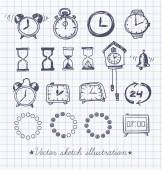 Set of vintage doodle sketch watches. — Stock Vector