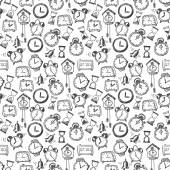 Seamless background with doodle sketch watches a — Vector de stock