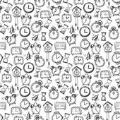 Seamless background with doodle sketch watches a — Vecteur