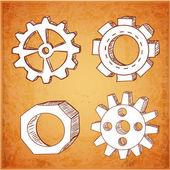 Gear wheels sketches — Stockvektor