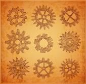 Set of gear wheels sketches — Wektor stockowy