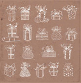 Vintage gift boxes icons. — Vecteur