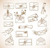 Envelopes hand-drawn — Stock Vector