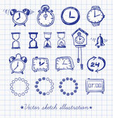 Set of doodle sketch watches — Vettoriale Stock