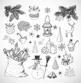 Sketchy christmas elements. — Stock Vector