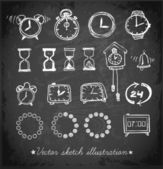 Sketch watches on blackboard — Stock Vector