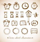Sketch watches on blackboard — Vettoriale Stock