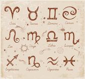 Sketchy zodiac symbols — Stock Vector