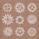 Set of gear wheels sketches — Stock Vector