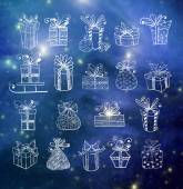 Gift boxes on blurred glowing background — Stock Vector