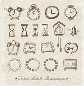 Doodle sketch watches — Wektor stockowy