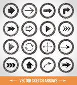 Sketch arrows in circles — Stock Vector