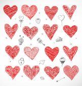 Doodle sketch hearts — Vecteur