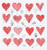 Doodle sketch hearts — Stock Vector