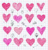 Doodle sketch hearts — Vettoriale Stock