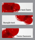 Banners with red grunge circles on paper — Stock Vector