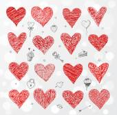 Collection of doodle sketch hearts. — Vector de stock