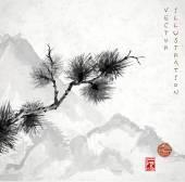 Japon çam ağacı dalı ve dağlar — Stok Vektör