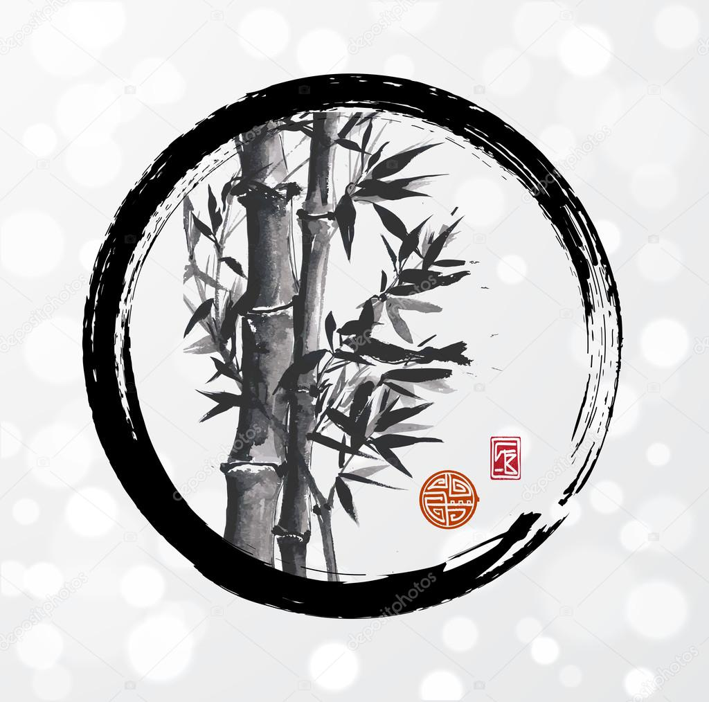 Bamboo Tree In Enso Circle Stock Vector 65723457