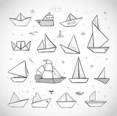 Paper ships sketches — Stock Vector