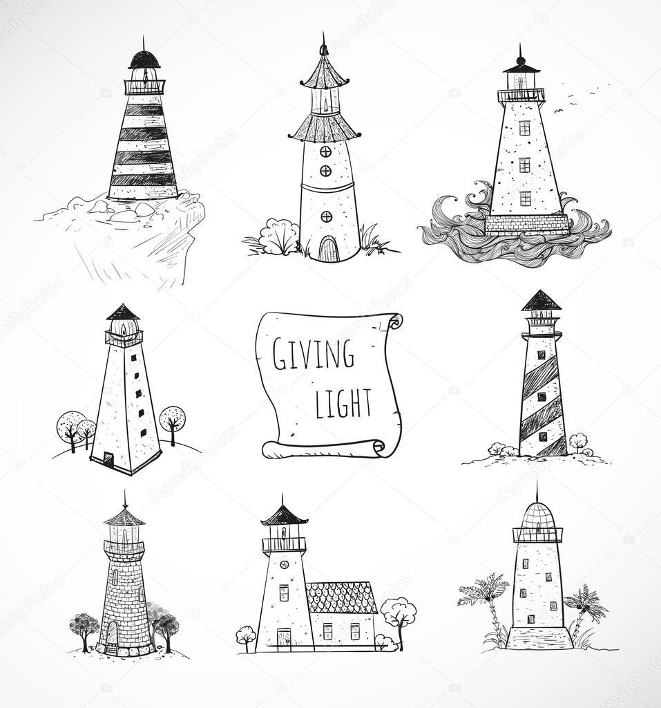 handgezeichnete skizzen von leuchtt rmen stockvektor 72133069. Black Bedroom Furniture Sets. Home Design Ideas