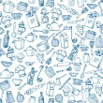 Texture with of kitchen doodle sketch utensils — Stock Vector #73776983