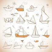 Paper boats sketches in vintage style — Stock Vector