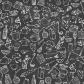 Seamless texture with kitchen utensils — Stock Vector