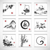 Elements in traditional Japanese style sumie — Stock Vector