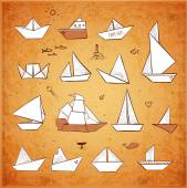 Vintage paper boats sketches — Stock Vector