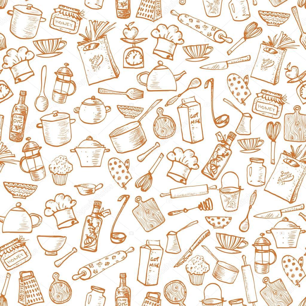 Textura Sem Costura Com Utens Lios De Cozinha Vetor De