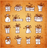 Sketch gift boxes collection — Stock Vector