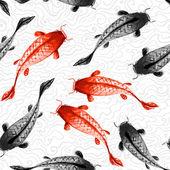 Red and black koi carps — Stock vektor