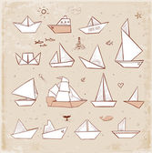 Origami paper ships sketches — Stock Vector