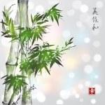 Green bamboo in sumi-e style — Stock Vector #79157046