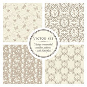 Vintage seamless patterns — Stock Vector