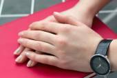 Woman hand with a watch  — Stock Photo