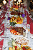 Beautifully banquet table with dessert — Stock Photo