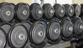 Dumbbells in the gym — Stock Photo