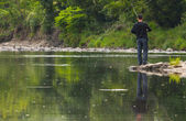River fishing reflection — Stock Photo