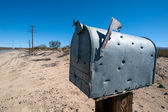 Mailbox with bullet holes — Stock Photo