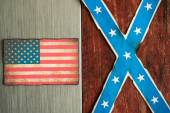 Confederate and american flag concept — Stock Photo