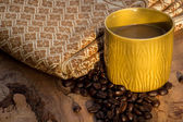 Factoring, wood, ceramics, coffee beans, fabrics, textures, cott — Stock Photo