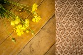 Beautiful yellow flowers wrapped in cotton. — Fotografia Stock