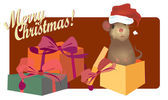 Merry Christmas Card with Cute mouse — Stock vektor