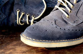 Blue Suede Man Shoes — Stock Photo