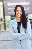 Businesswoman in modern office building — Stok fotoğraf