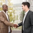 Black businessman shaking hands with a caucasian one — Stock Photo #70734579