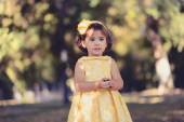 Little girl running and playing in the park — Stock Photo